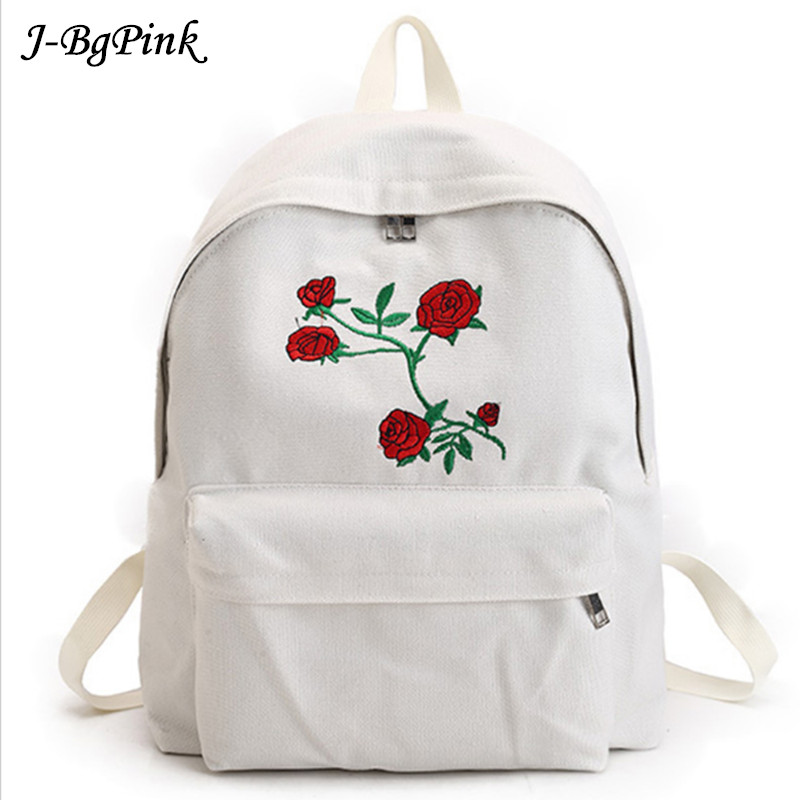 Harajuku Rose Embroidery Backpack White Black Women Travel Backpack Students Canvas Double Shoulder Bag Mochila