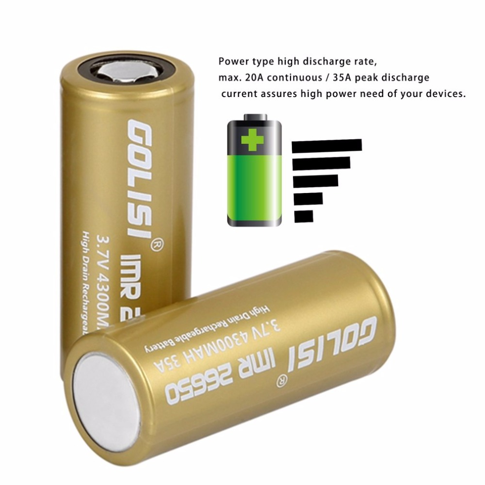 GOLISI S43 26650 Rechargeable Battery Li-ion 4300mAh 3.7V 35A High Drain Low Internal Resistance for LED Flashlights Headlamps