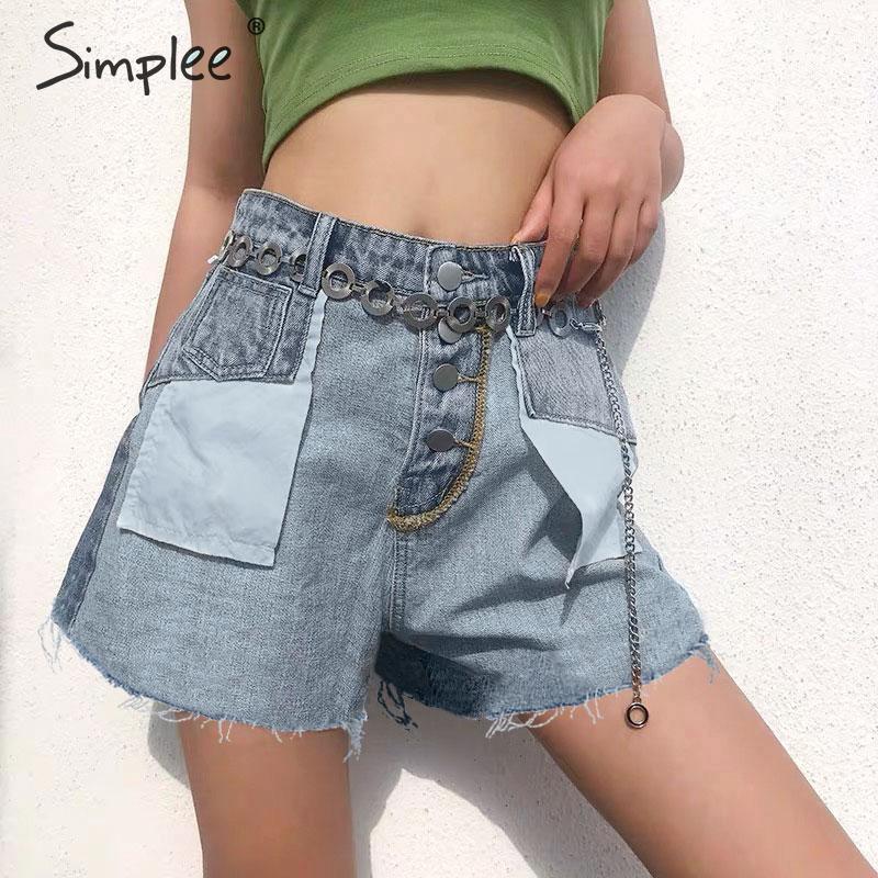 Simplee Buttons High Waist Denim Shorts Women 2019 Summer Casual Pockets Splice Jeans Shorts Female Loose Chain Streetwear Short