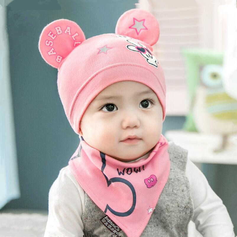 baby girl hat cap fitted hats pink bandana bibs cotton baby bib children autumn hat cartoon beanie newborn baby caps for girls