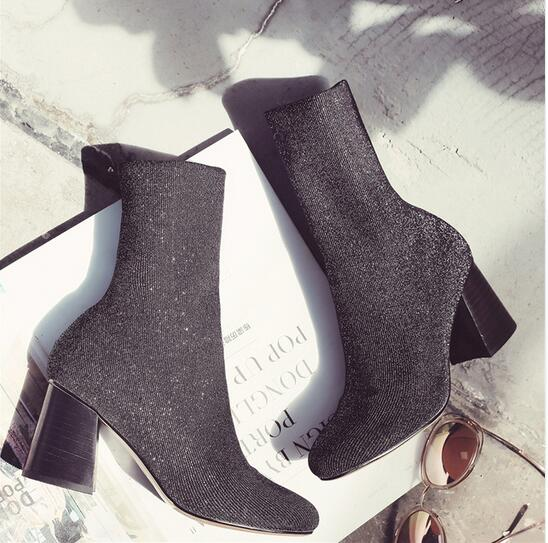 Women 100% Genuine Leather Stretch Boots 2016 Autumn New Chunky High Heel Ankle Boots Round Toe Slip On Booties Gray & Purple
