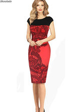 Summer Fashion Sleeveless Print Dress high quality Slim Pencil Midi Office Robe Plus Size Women Clothes elegant style