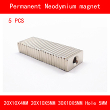 5PCS rectangle magnet 20*10*4MM 20*10*5MM 30*10*5MM hole 5MM n35 Rare Earth strong Permanent NdFeB Neodymium Magnet