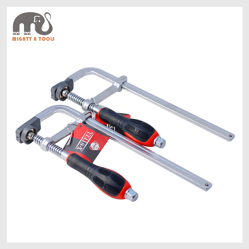 2pc 80x250mm Heavy Duty All Steel F-Type Screw Bar Clamps Go-Thru Driver Handle Quick Launch Strong F Clamp