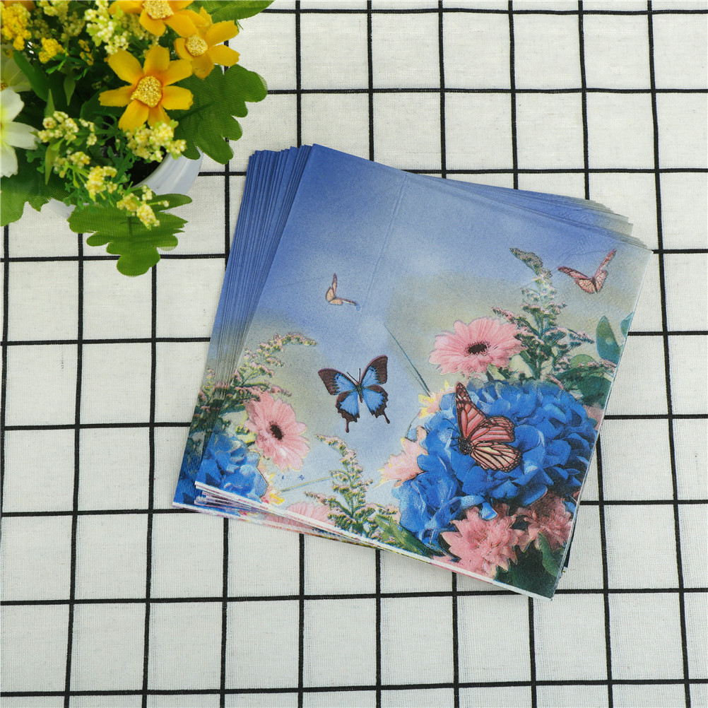20pcs Purple Flower Paper Napkin Butterfly Festive Party Supplies