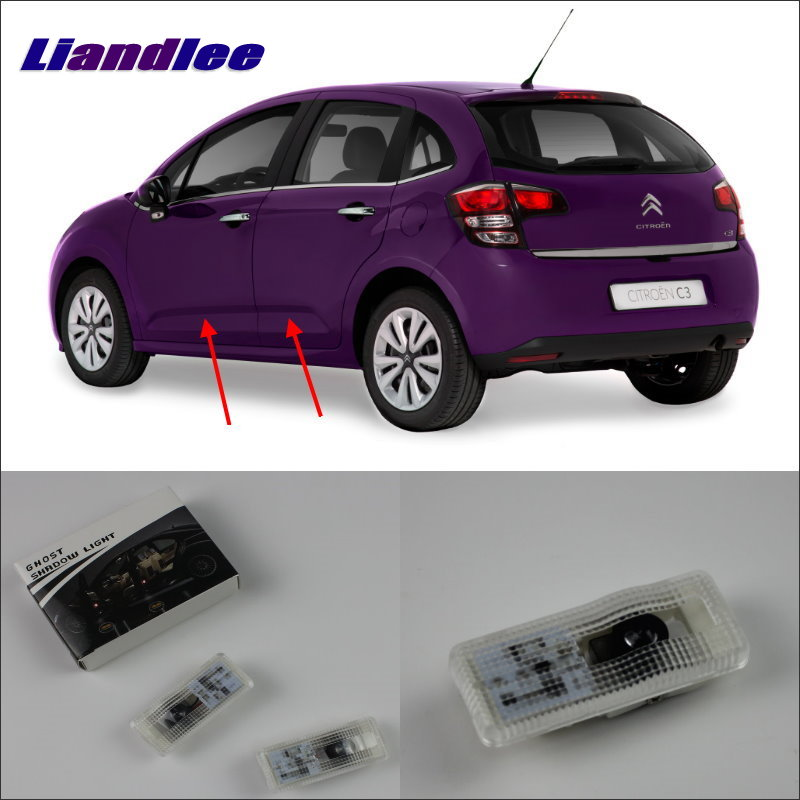 Liandlee Led Car Logo Light Door Welcome Lights Ghost Shadow Projector Lamp For Citroen C3 (A51) 2009 Courtesy Doors Lamps