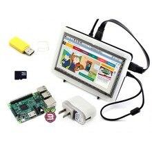 RPi3 B Paquete F # Raspberry Pi 3 Modelo B + 7 pulgadas LCD HDMI 1024*600 IPS de la Pantalla Táctil + Bicolor Caso + Tarjeta de 16 GB Micro SD + Power adaptador