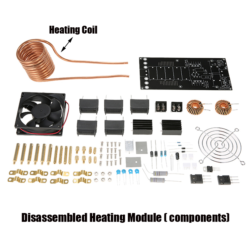 DC 12-40V 1000W 20A ZVS Induction Heating Board PCB Module Heater Coil with Fan