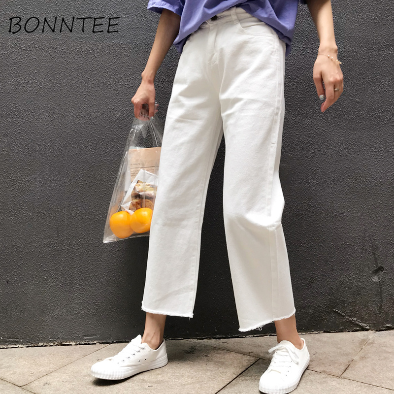 Jeans Female Loose Korean Style Casual Student Loose Thin Woman Denim Harajuku Bf All-match Pockets Chic Females Jean Trousers