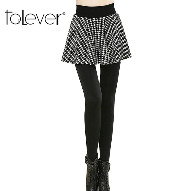 2016 Autumn Winter Plus Cashmere Women Leggings False 2Pcs Velvet Pantskirt Package Hip/Pleated Leggings Plus Sizes L-3XL