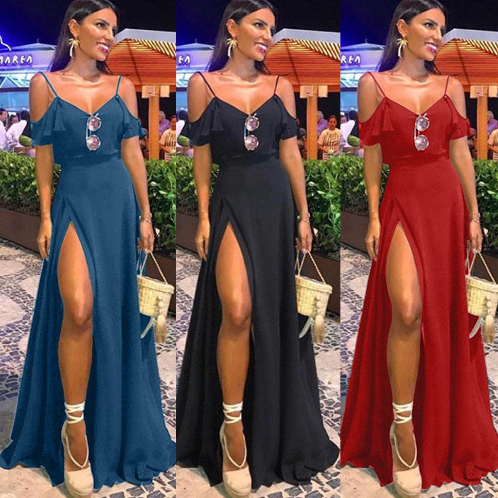 Summer Women V Neck Off-shouler Sleeveless Sexy Open-Forked Dressess Woman Boho Strappy Ruffle Split Long Maxi Party Beach Dress