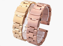 Stainless steel Watchband Double click safety buckle black silver Rose Gold 18mm 20mm 22mm 24mm metal