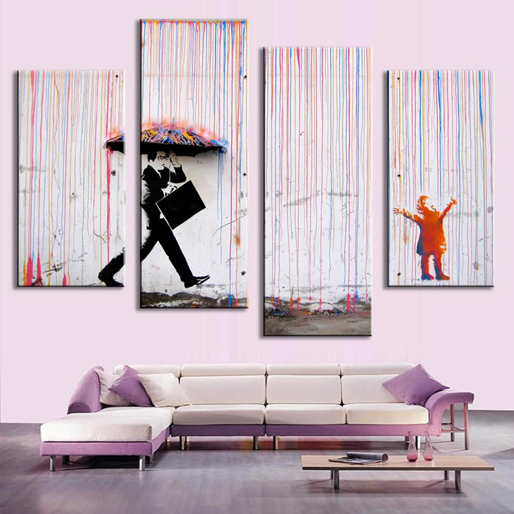 Paintings For The Living Room Aliexpresscom Buy 4 Pictures Banksy Art Colorful Rain Oil