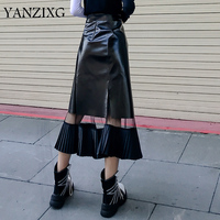 Harajuku See Through Mesh Patchwork Pu Leather Skirt Women Hight Waist Mid Long Pleated Skirts Punk Fashion Skirt Femme Q110