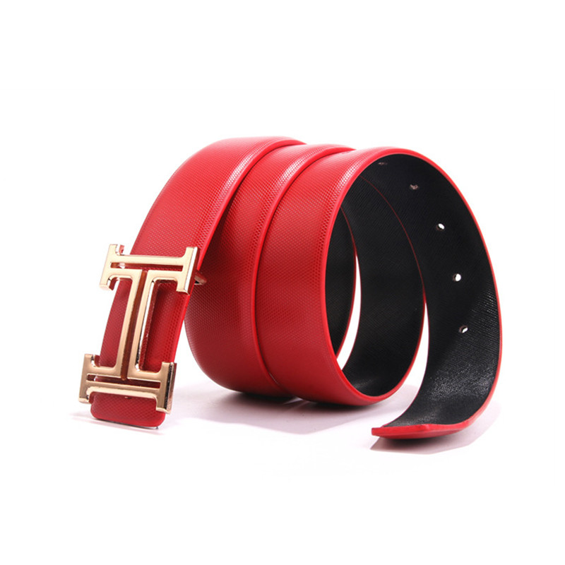 2019 Fashion Smooth Buckle   Belts   with Letter H Women   Belts   Cinturones Hombre Golden Buckle Strap Leisure 3.4CM Luxury Men   Belt