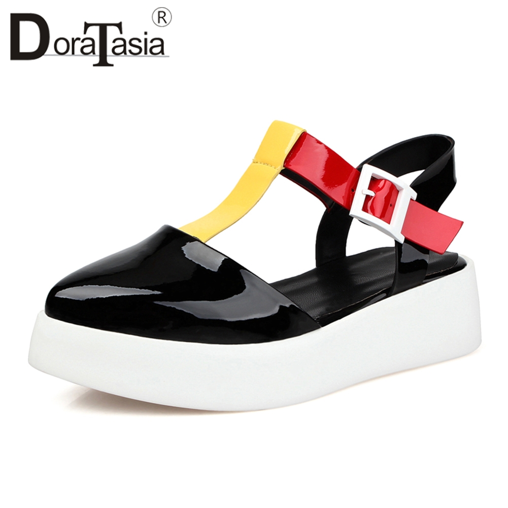 DoraTasia New Brand High Quality Patent Genuine Leather Platform Sandals Women Summer 2018 Sweet mixed-color Casual Shoes Woman