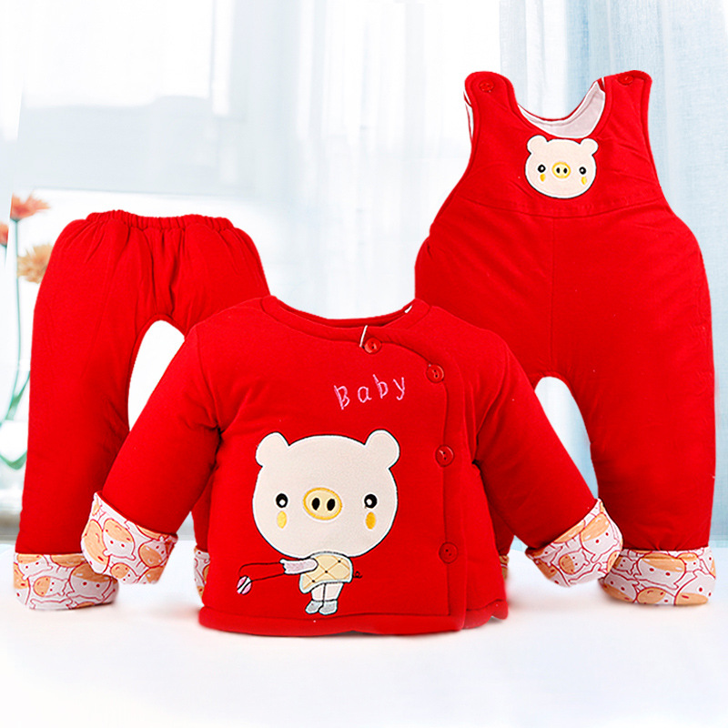 ФОТО Cartoon Cute Pig Red Coat Three Sets, Autumn and Winter Baby Cotton Belt Pants Suit, The Chinese Style