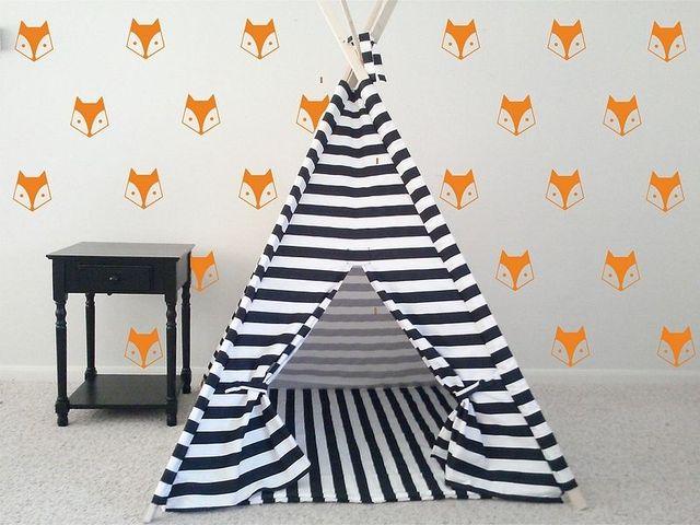 40pcs Mini Fox Diy Wall Sticker For Kids Room Boys Bedroom Baby Decor