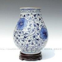 Ceramics blue and white antique guanyao crack glaze vase adhesins peony bucket decoration