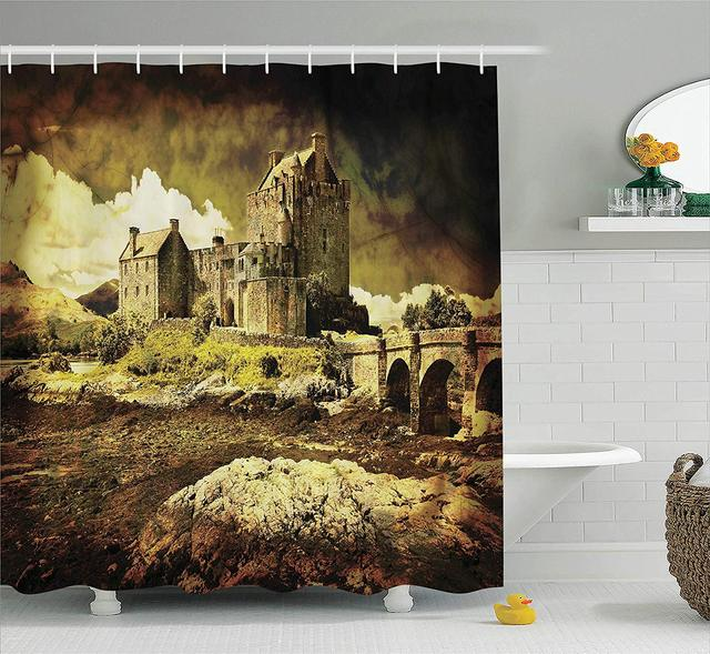 Medieval Shower Curtain Old Scottish Castle In Vintage Style European Middle Age Culture Heritage Town Photo