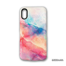 For iPhone xr Colorful marble Battery Case 6000mAh Power Bank Portable