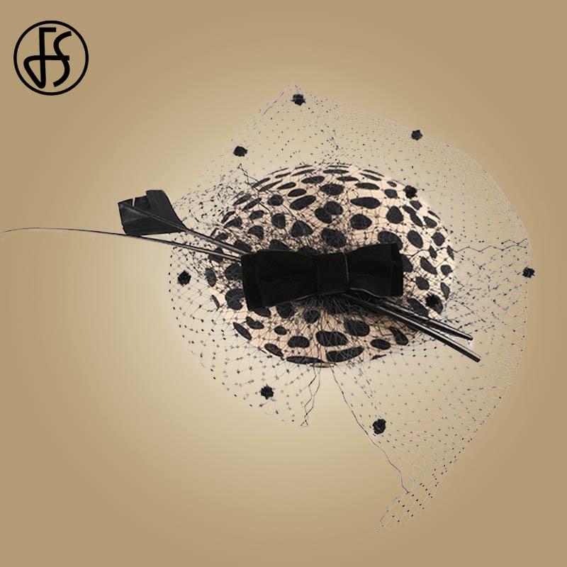 Image 4 - FS Fascinators Black Leopard Pillbox Hat With Veil 100% Australian Wool Felt Wedding Hats Women Vintage Bow Cocktail Fedoras-in Women's Fedoras from Apparel Accessories