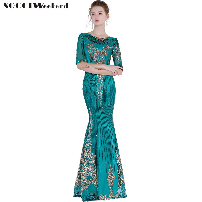 Long Marmaid   Evening     Dress   New Green Multicolor Elegant Sequined Embroidery Women The Banquet Party   Dresses   Half Sleeves Gowns