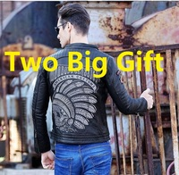 Free shipping brand mens skull men s top genuine leather biker jacket motorcycle homme fitness chaqueta.jpg 200x200