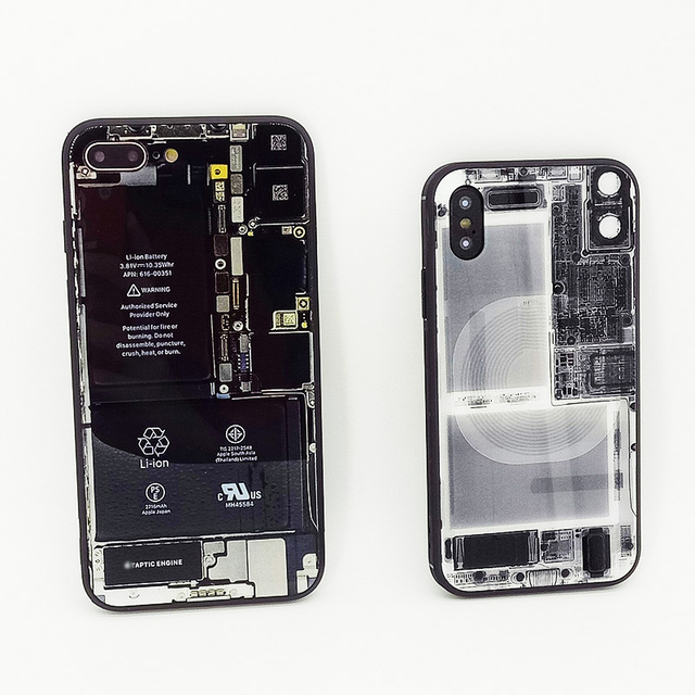 funny built-in circuit diagram tempered glass mirror case for iphone 6 6s  plus 7