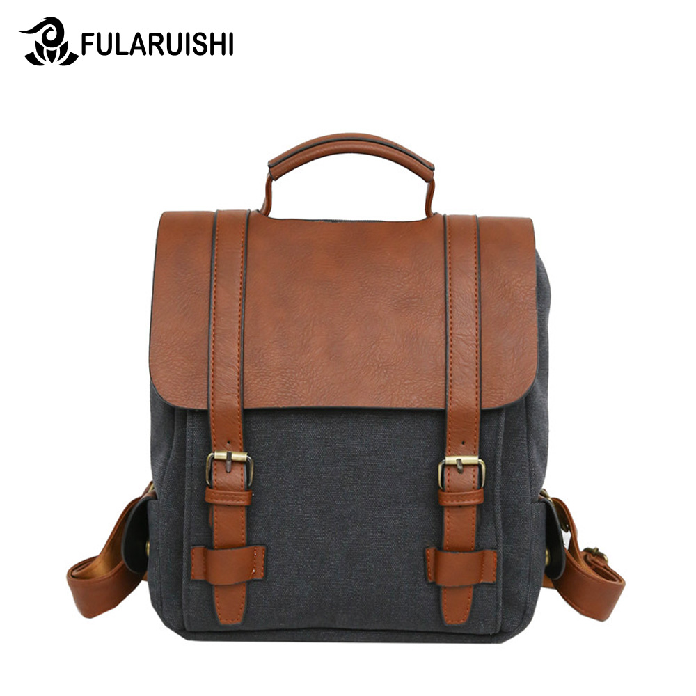 Royadong Laptop Backpack Women Canvas Leather Belts And Flap Vintage Backpack For Teenagers Men Backpack Travel Backpack