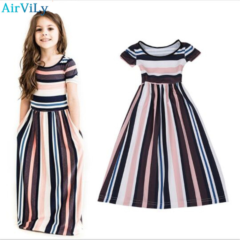 Girls Summer Beach Dress Fashion Cotton Short Sleeve O-neck Striped Princess Kids Party Long Dress Vestidos Children's clothes женское платье bohemian i women summer beach dress 2015 o vestidos w0014