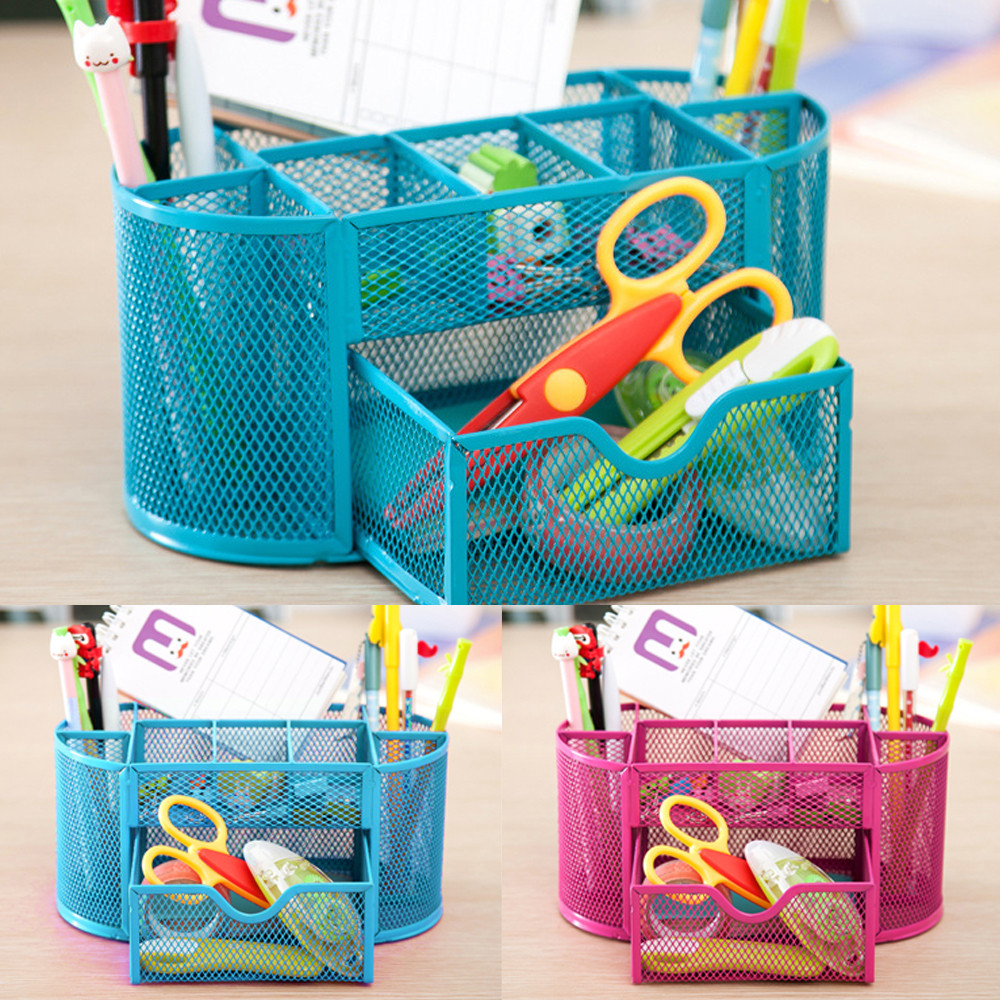 2 Color Pen Pencils Mesh Holder Stationery Container Desk Tidy Organiser Office School Organizer For The Office 22x11x10.5@GH