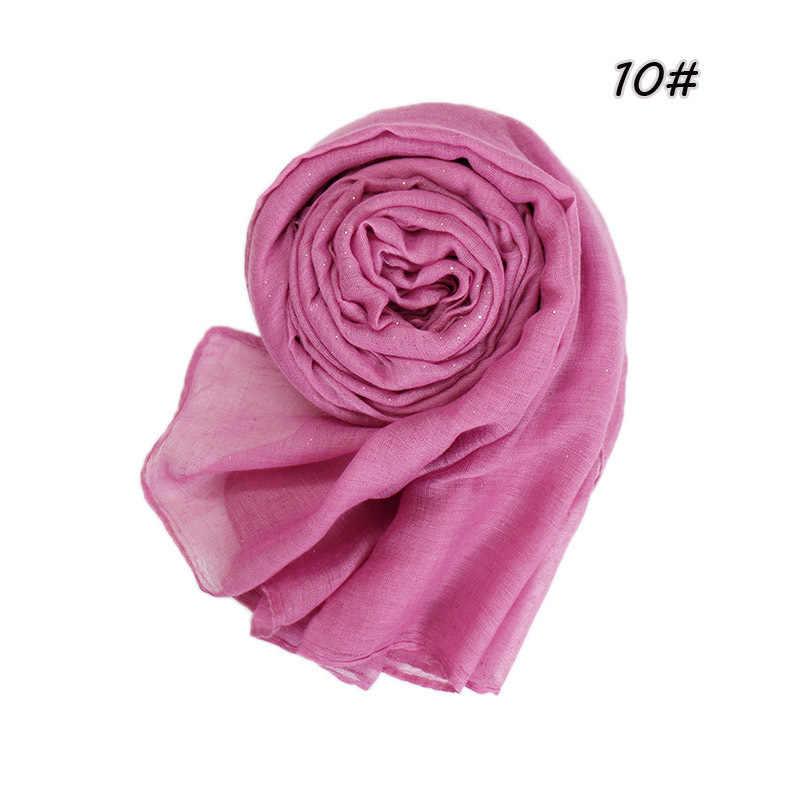 2019 muslim cotton hijab scarf for women islamic soft glitter headscarf hijab femme musulman head scarf for ladies shawl arabic