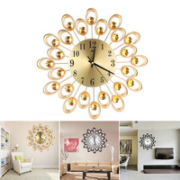 fashion Iron Art Big Clock Radial Flower Big 3D Iron Decorative Wall Clock Retro Design The Clock On Wall