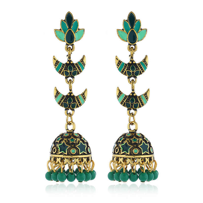 Bollywood Oxidado Jóias Étnico Afegão de Ouro Longa Borla Queda Talão Flor Indiano Jhumka Brinco Jóia Do Casamento de Mulheres Egito