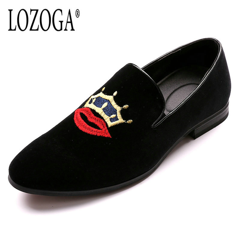 Lozoga Men font b Shoes b font Black Loafers Embroidery Crown And Lipstick Fashion Brand font