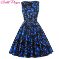 Ladies Dresses Casual 50s Vintage Vestidos 2016 Style Retro Robe Femme Ete Sexy Club Print Retro Vintage Crew Neck Cotton Dress