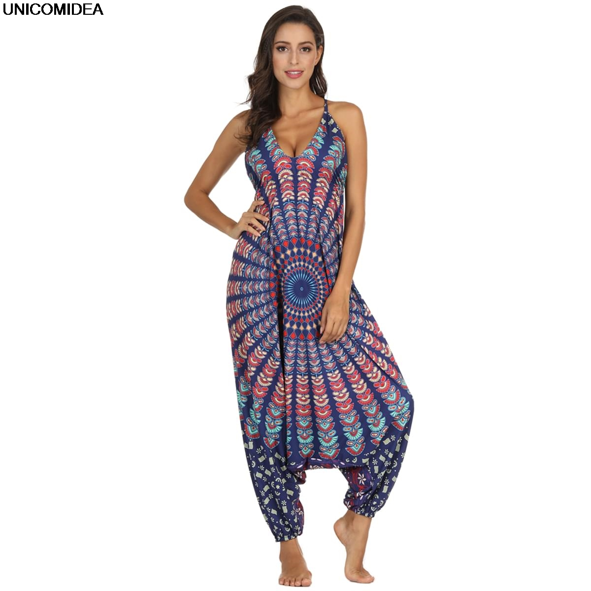 25d904446190b 2019 Ethnic Mandala Jumpsuits Women Spaghetti Strap Bohemian Gypsy Thai  Clothes Rompers Holiday Beach Bodysuits Mujer Playsuits-in Jumpsuits from  Women s ...