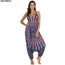 a9b4eba7fa811 2019 Ethnic Mandala Jumpsuits Women Spaghetti Strap Bohemian Gypsy Thai  Clothes Rompers Holiday Beach Bodysuits Mujer