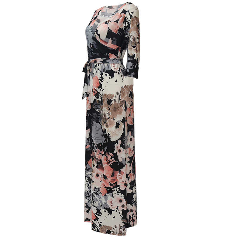 Женские макси длинные платья летнее пляжное платье с цветочным принтом элегантные облегающие вечерние платья vestidos женские длинные большие размеры XXL