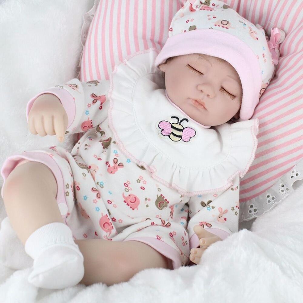 OCDAY Cute 16 Inch Sleeping Baby Reborn Doll Pink Bee Shape Clothes with Pink Bib Soft Lifelike Newborn Dolls Girl Best Gift Hot цена