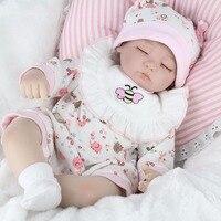 OCDAY Cute 16 Inch Sleeping Baby Reborn Doll Pink Bee Shape Clothes with Pink Bib Soft Lifelike Newborn Dolls Girl Best Gift Hot