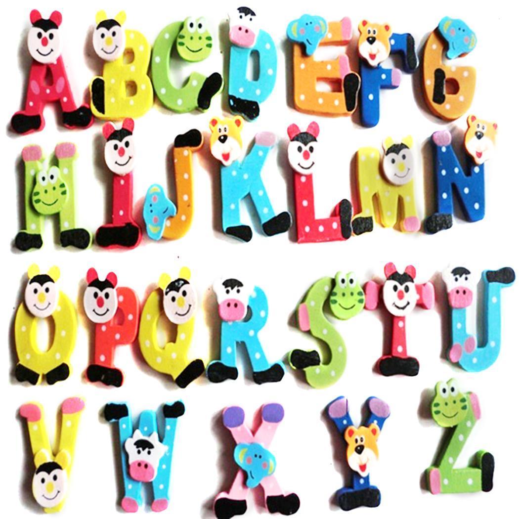 Alphabet etc 26Pcs Child Refrigerator Set Wooden A-Z Pcs Restaurant Home  Toy Kitchen 26 Shape Cartoon 5d6f85724187