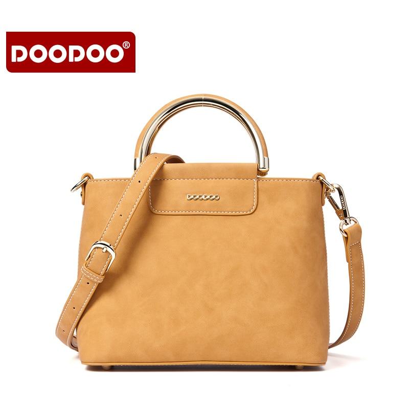 DOODOO PU Women Leather Handbag Solid Round Handle High Quality Luxury Shoulder bag Femal messenger Bags Designer Bolsa Feminina