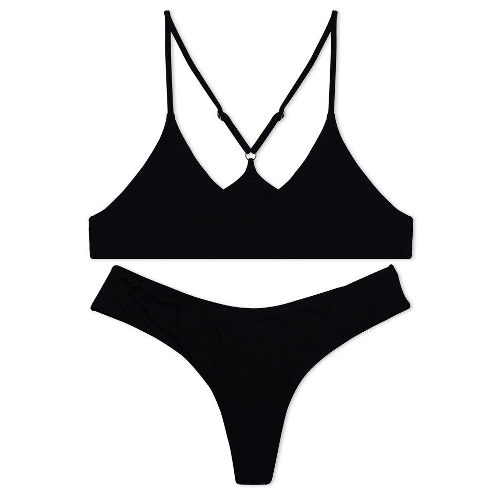 BANDEA 2017 Push up Bikini sin costuras para Mujer halter sólido Del ...