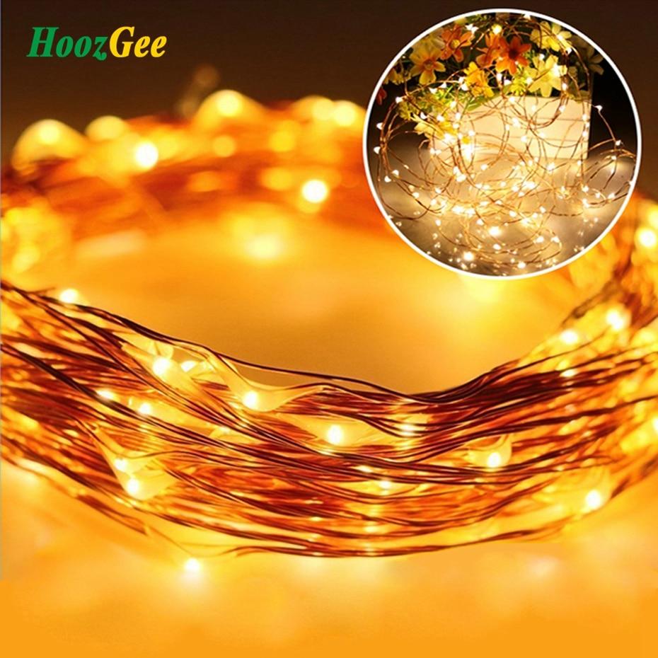 HoozGee солнечного света строки Открытый Рождество Фея лампы 100 <font><b>LED</b></font> multicolor Медный провод партия Декор ангел мечты Освещение