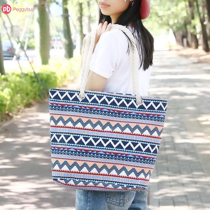 Ethnic Printed Women Canvas Shopping Beach Totes Big Capacity Zipper Casual  Travel Shoulder Handbags Bolsa Feminina-in Shoulder Bags from Luggage   Bags  on ... 43d9cab4b7a3