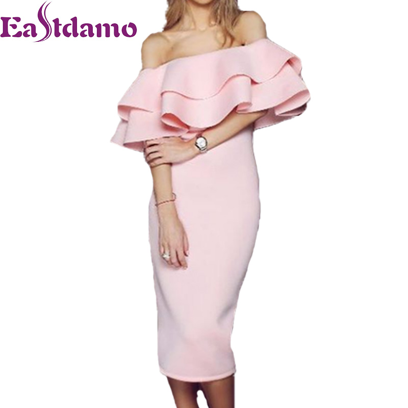 59226c869416 Eastdamo Off Shoulder Ruffle Long Dress 2017 Summer Sexy Bodycon Midi Party Dress  Black Pink Slash Neck Bandage Dresses-in Dresses from Women s Clothing on  ...
