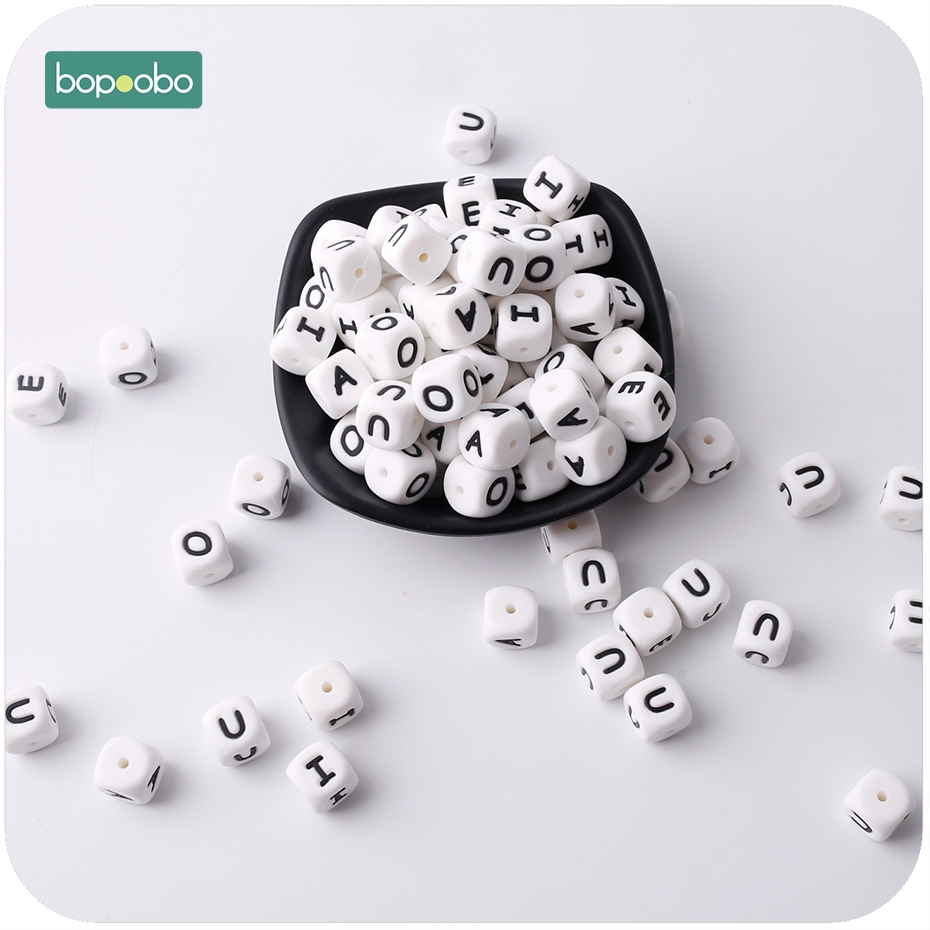 Bopoobo 20PC 12mm Baby Silicone Vowel Letter Beads Molar Teeth Baby Shower Gift Nursing Accessories BPA Free Silicone Teether