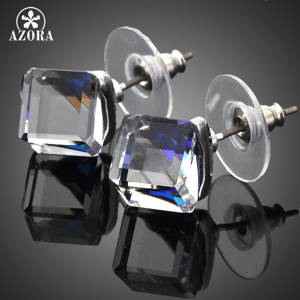 AZORA White Gold Color Stellux ավստրիական Crystal Blue Cube Stud Ականջօղեր TE0021